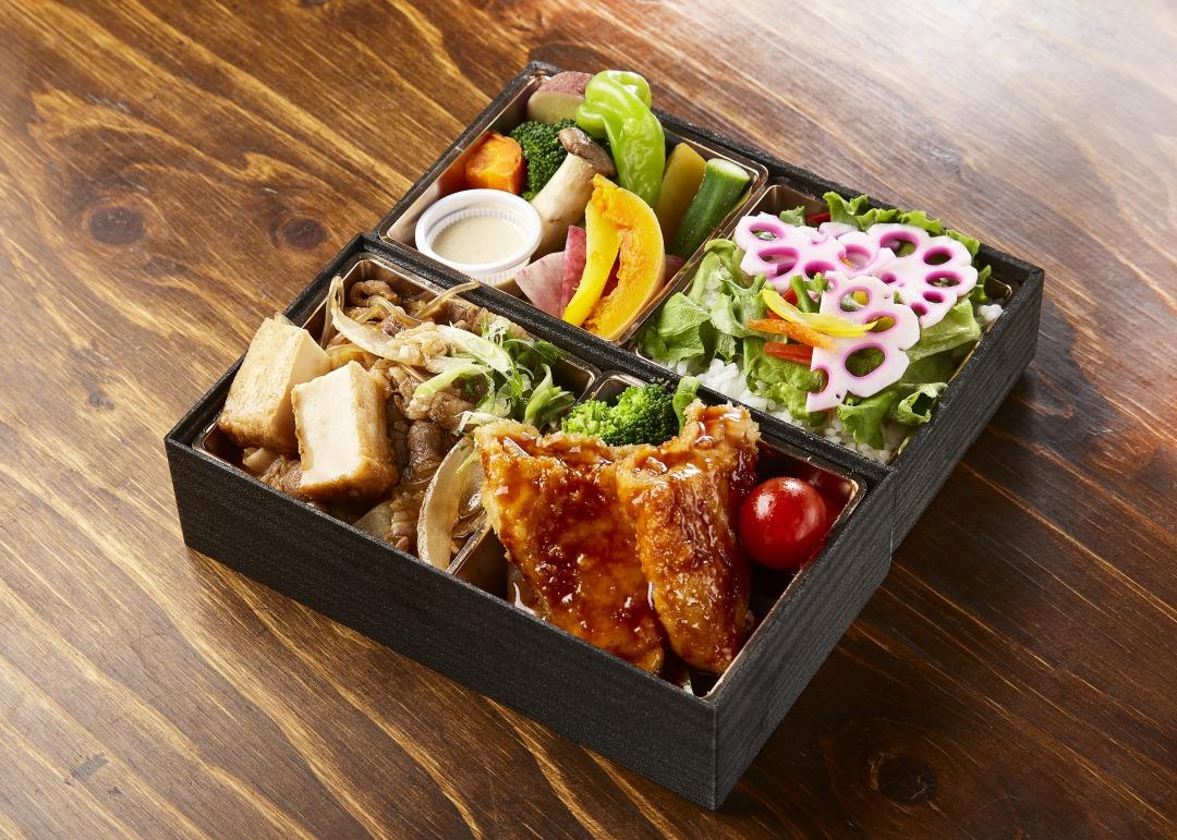 G.牛すき焼きと旬魚の五穀酢和え季節野菜蒸し弁当