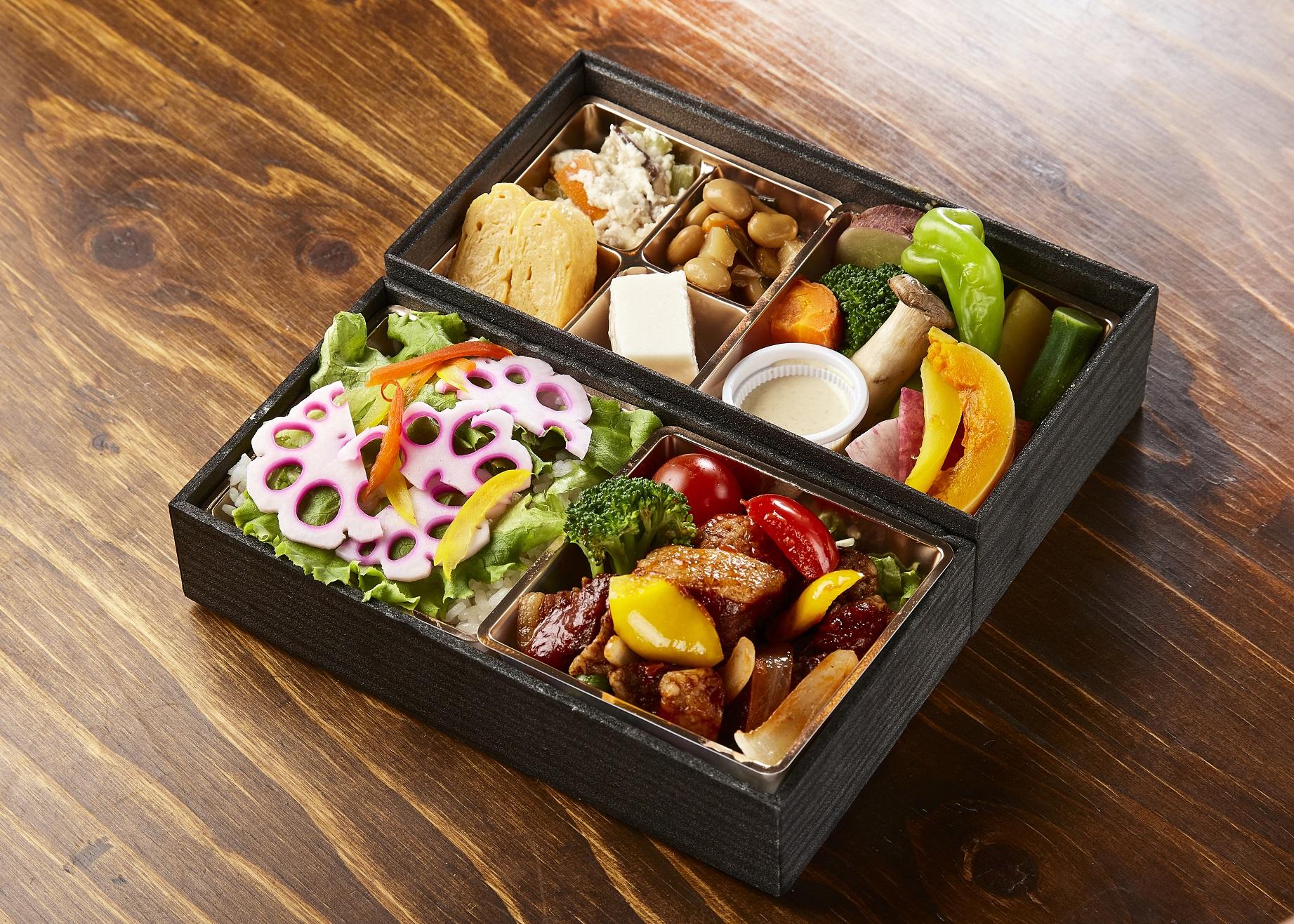 F.黒酢酢豚と野菜のバーニャカウダー弁当